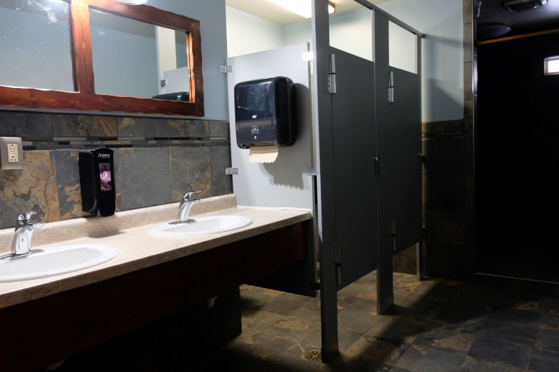 Bathroom stalls and sinks