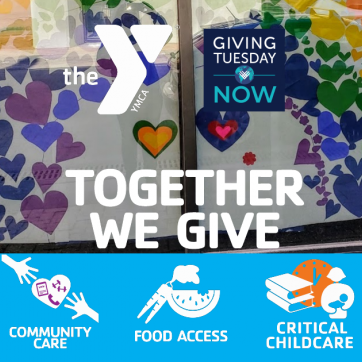 Together we give Community Care, Food Access, Critical Care.  Little Girl with rainbow hearts